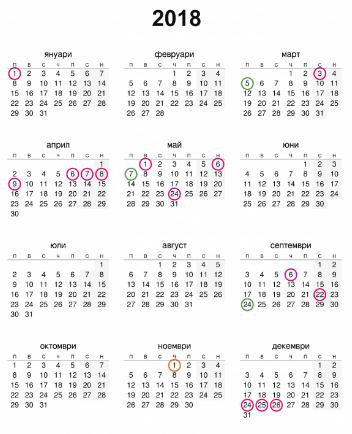kalendar praznici 2018