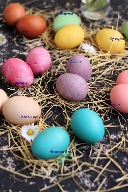 Природни бои за великденски яйца